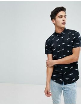 Brave Soul Moustache Print Short Sleeved Shirt by Shirt