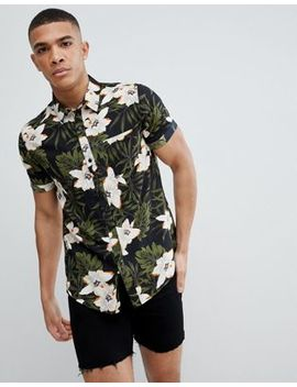 Another Influence Dark Floral Short Sleeve Boxy Shirt by Shirt