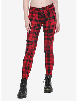 Blackheart Red &Amp; Black Plaid Super Skinny Pants by Hot Topic