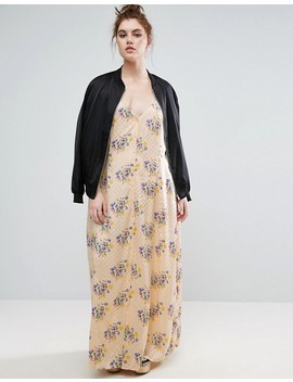 Asos Curve Maxi Dress With Cross Back In Vintage Floral Print by Asos Curve