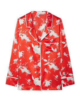 Keir Floral Print Silk Satin Shirt by Alice + Olivia