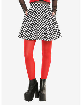 Black &Amp; White Checkered Skirt by Hot Topic