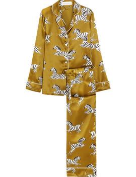Lila Mona Printed Silk Satin Pajama Set by Olivia Von Halle