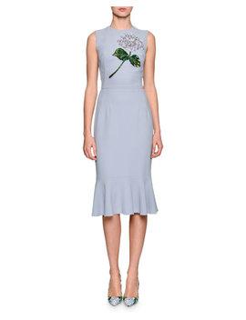 Hydrangea Embellished Flounce Hem Dress, Light Blue by Dolce & Gabbana