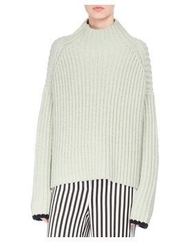 Wide Ribbed Funnel Neck Sweater, Green by Victoria Victoria Beckham