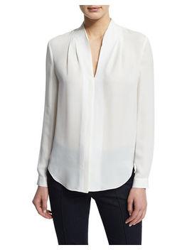 Judith Long Sleeve V Neck Silk Blouse by Elie Tahari