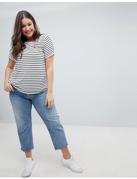 New Look Curve Stripe Heart Tee by New Look Curve