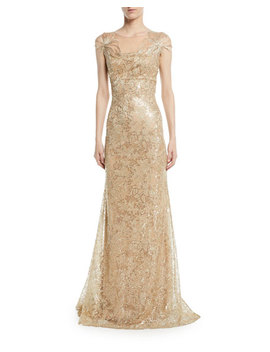 Embroidered Gown W/ Metallic Floral Appliqué by Neiman Marcus