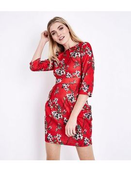 Blue Vanilla Red Floral Pocket Front Tulip Dress by New Look