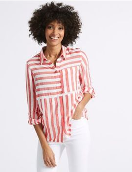 Modal Blend Striped 3/4 Sleeve Shirt by M&S Collection