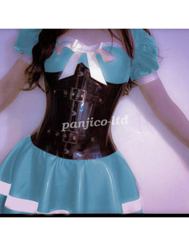 New!Light Blue Dress Latex Rubber Fashion Sexy Cute Skirt With Lace Size:Xxs Xxl by Unbranded