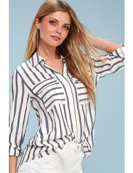Macon Blue And White Striped Button Up Top by Lulus