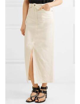 Lace Up Cotton And Linen Blend Denim Midi Skirt by Mc Q Alexander Mc Queen