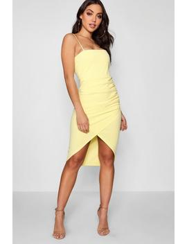 Ellie Square Neck Wrap Skirt Midi Dress by Boohoo