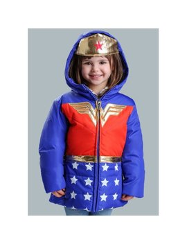 Dc Comics Wonder Woman Girls Puffer Coat by Fun Costumes