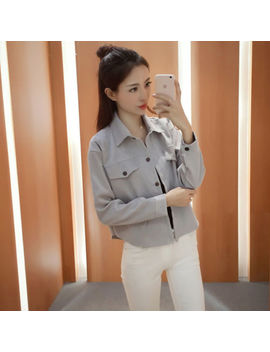 Women's Korean Style Pure Color Corduroy Fashion Long Sleeve Short Top Shirt by Unbranded