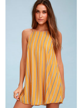 Sweet Little Lines Golden Yellow Striped Shift Dress by Lulus