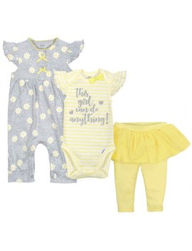 Gerber Newborn Baby Girl Coverall, Bodysuit & Pants, 3pc Set by Gerber