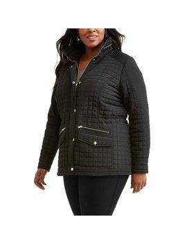 Jason Maxwell Women's Plus Size Shirred Waist Zipped Collar Jacket by Jason Maxwell