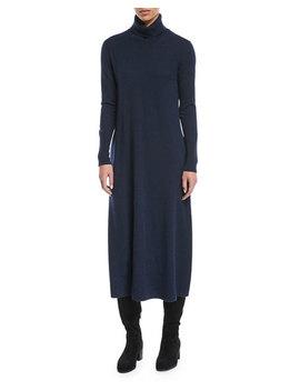 Turtleneck Long Sleeve Midi Cashmere Sweaterdress by Loro Piana