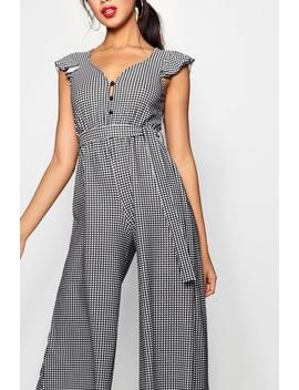 Georgie Gingham Frill Sleeve Culotte Jumpsuit by Boohoo