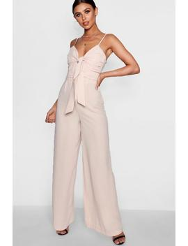 Petite Chelsea Double Knot Front Wide Leg Jumpsuit by Boohoo
