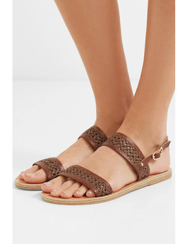 Dinami Woven Raffia And Leather Slingback Sandals by Ancient Greek Sandals