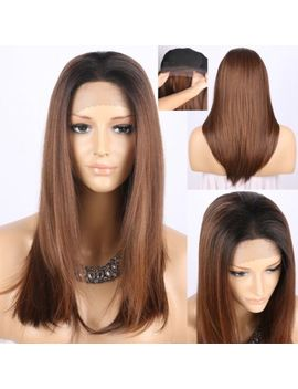 Realistic Long Straight Lace Wig Ombre Brown Synthetic Lace Wigs With Dark Roots by Chantiche Lace Wig