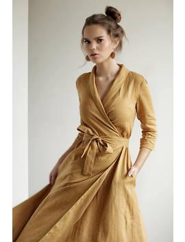Mustard Linen Wrap Dress,Linen Dress Shawl Collar , Linen Dress With Belt, Summer Dress, Natural Linen Dress, Long Linen Dress by Etsy