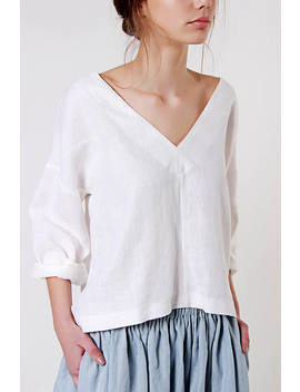 Linen Blouse,  V Neck Linen Top, Loose Linen Blouse Custom Color, Blouse With Deep V Neck In White Linen, Softened Linen Tee, Loose Top by Etsy