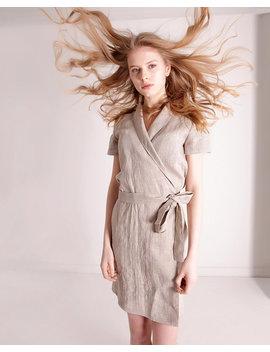 Linen Safari Dress,  Short Linen Dress, Linen Wrap Dress,  Short Sleeve Dress, Linen Dresses For Woman, Linen Summer Dress, Mini Dress by Etsy