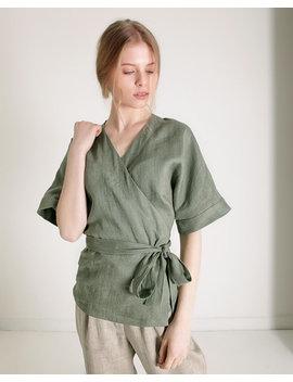 Wrap Linen Blouse Short Sleeves, Linen Wrap Top, Kimono Linen Top, Linen Tops For Woman, Linen Wrap, Linen Kimono Blouse, Linen Clothing by Etsy