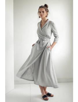 Linen Wrap Dress,Linen Dress Shawl Collar , Linen  Dress With Belt, Summer Dress, Natural Linen Dress, Grey Wrap Dress, Long Linen Dress by Etsy