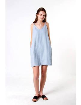 Linen Tank Dress,  Bluish Grey Linen Dress, Loose Linen Dress, Linen Dresses For Woman, Linen Tunic Dress, Spaghetti Strap Linen Dress by Etsy
