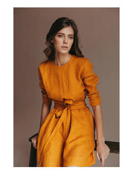 Woman Linen Dress. Mini Linen Dress. Pure Linen Dress. Washed Linen. Wrap Dress. Autumn Dress   Gift For Her   Organic Clothing by Etsy