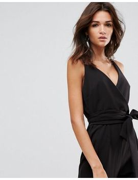 Asos Design Wrap Front Jumpsuit With Peg Leg And Self Belt by Asos Collection