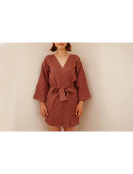 Womens Softened Linen Robe  For Her Gift For Her Plus Size Linen Clothing Linen Kimono Robe Linen Clothing Available In 12 Colors by Etsy