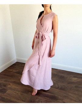 Linen Loose Dress, Linen Wrap Dress With Pockets, Linen Summer Dress, Pink Linen Dress, Maxi Length Dress, Long Linen Dress, Women's Dresses by Etsy