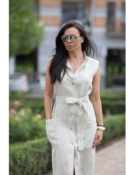 Linen Sleevles Dress/White Linen Dress/Linen Wrap Dress/Women Dress With Belt/Summer Dress/Dress With Strips/Linen Clothes/Eco Linen by Etsy
