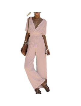Dymade Sexy Wrap Deep V Neck Cold Shoulder Ruffle Sleeve Wide Leg Jumpsuit With Belt by Dymade