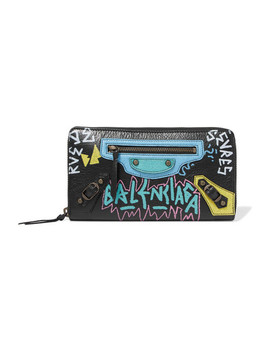Printed Textured Leather Continental Wallet by Balenciaga
