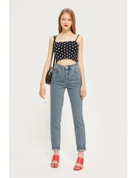Moto Grey Blue Mom Jeans by Topshop