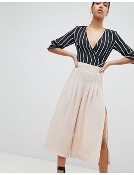 Parallel Lines Wide Leg Pleated Pants With Zip Detail by Parallel Lines