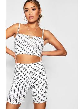 Ava Diagonal Repeat Print Square Neck Bralet by Boohoo