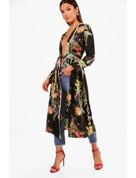 Freya Dark Floral Belted Kimono by Boohoo
