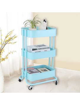 3 Tiers Storage Trolley Cart Slim Rolling Trolley With Wheels For Home Bedroom, Living Room,Kitchen by Hurrise