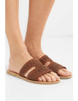 Apteros Woven Raffia And Leather Slides by Ancient Greek Sandals