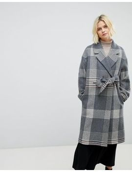 Whistles Check Wrap Oversized Coat by Whistles