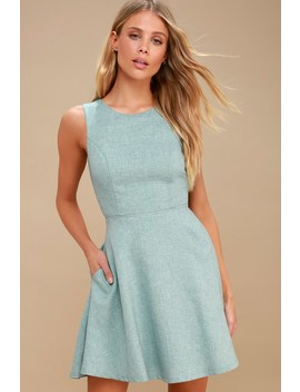 Winsome Mint Blue Backless Skater Dress by Lulus