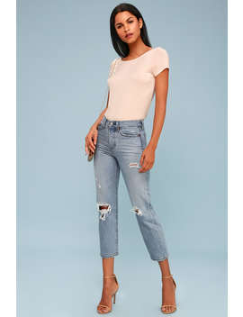 Wedgie Fit Light Blue Distressed Straight Leg Jeans by Levi's